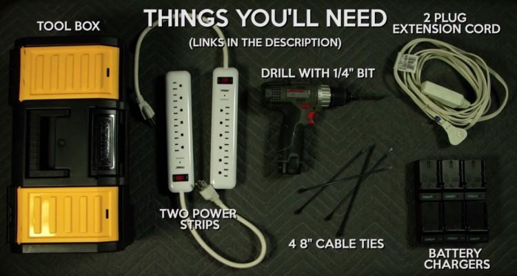 工具箱と延長ケーブルでバッテリー充電ボックスを作ろう