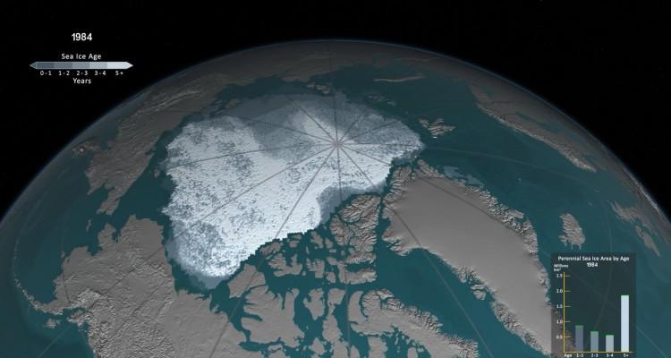 氷が減っていく。NASAの公開した北極の氷のタイムラプスアニメーション。