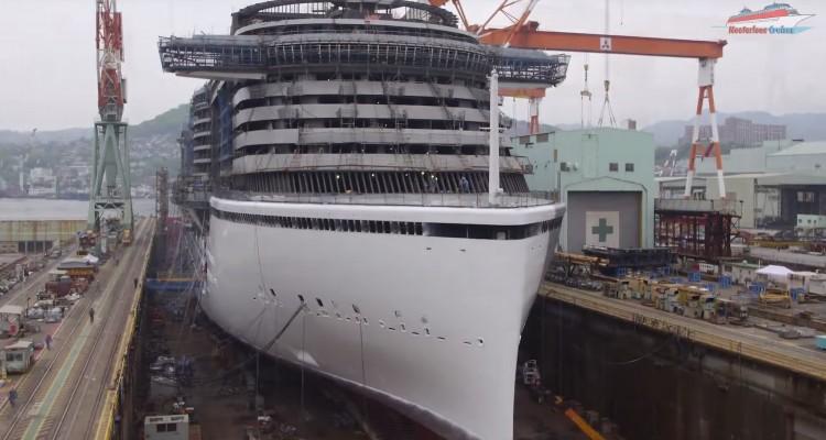 クルーズ客船「アイーダ・プリマ」の建造風景をタイムラプスで。