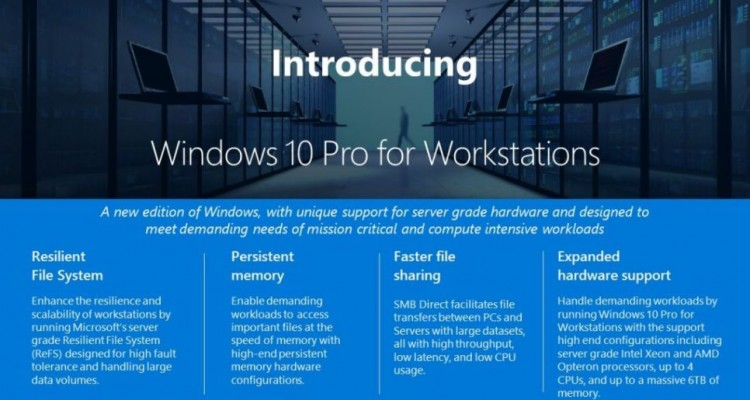 6TBまでのRAMに対応・・・!Microsoftが「Windows 10 Pro for Workstations」を発表!